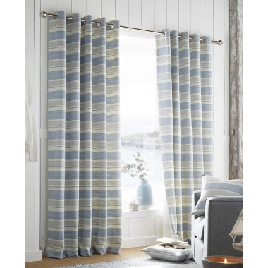 Denver Lined Ring Top Curtains - Finished in Blue