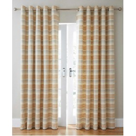 Denver Lined Ring Top Curtains - Finished in Caramel