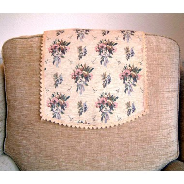 Beautiful Floral Bouquet Chenille Antimacasser Chair Backs