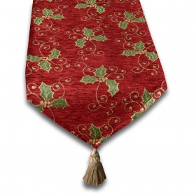 Holly Berry Luxury Chenille Christmas Tablerunner (Single) - Three Sizes Available