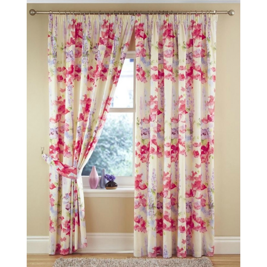 Ariel Printed Watercolour Floral Lined Tape Top Curtains
