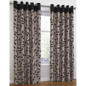 Bay Leaf Lined Ring Top/Eyelet Curtains (Pair) Available in Black