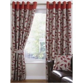 Bay Leaf Lined Ring Top/Eyelet Curtains (Pair) Available in Red
