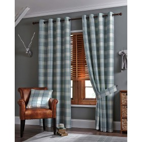 Kindle Jacquard Ring Top Curtains (Pair) - Finished in Duck Egg