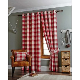 Kindle Jacquard Ring Top Curtains (Pair) - Finished in Red