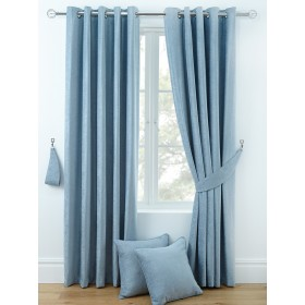 Luxury Chenille Ring Top Curtains (Pair) - Finished in Duck Egg