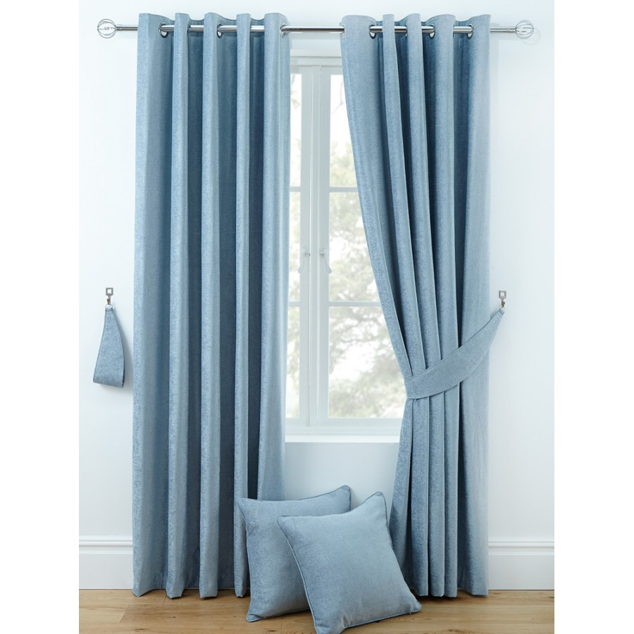 luxury chenille ring top curtains pair finished in