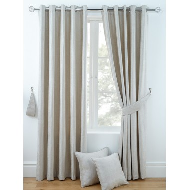Luxury Chenille Ring Top Curtains (Pair) - Finished in Natural
