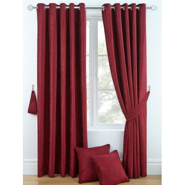 Luxury Chenille Ring Top Curtains (Pair) - Finished in Red