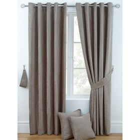 Luxury Chenille Ring Top Curtains (Pair) - Finished in Taupe