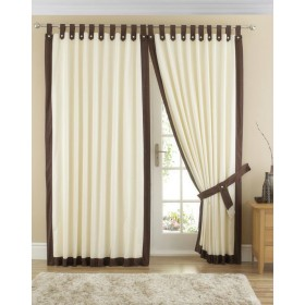 Claremont Lined Tab Top Curtains (Pair) Available in Chocolate