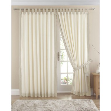 Claremont Lined Tab Top Curtains (Pair) Available in Natural