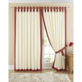 Claremont Lined Tab Top Curtains (Pair) Available in Terracotta
