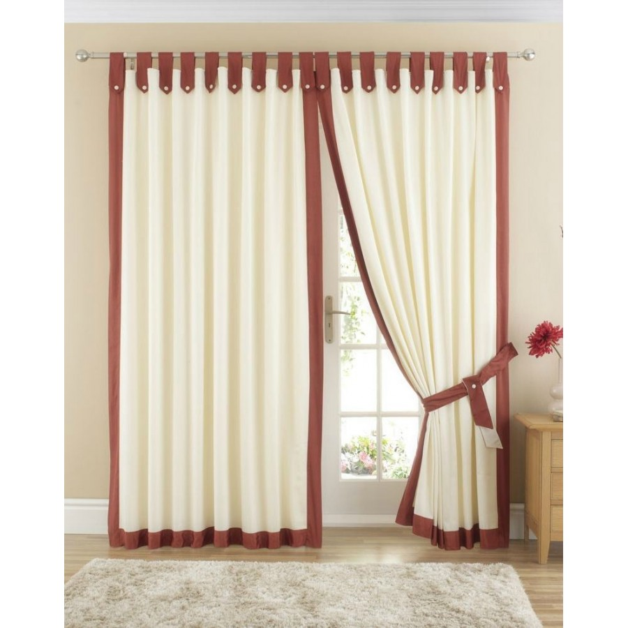 Claremont Lined Tab Top Curtains Pair Available In Terracotta