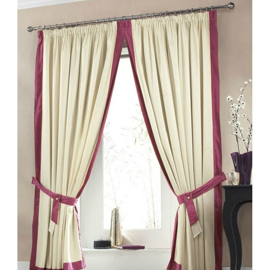 claremont lined tape top curtains pair available in wine