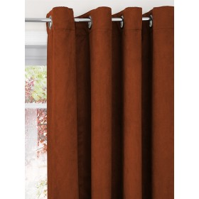 Faux Suede Lined Ring Top Curtains (Pair) - Finished in Burnt Orange