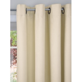 Faux Suede Lined Ring Top Curtains (Pair) - Finished in Cream