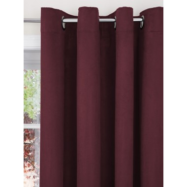 Faux Suede Lined Ring Top Curtains (Pair) - Finished in Plum