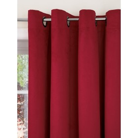 Faux Suede Lined Ring Top Curtains (Pair) - Finished in Red