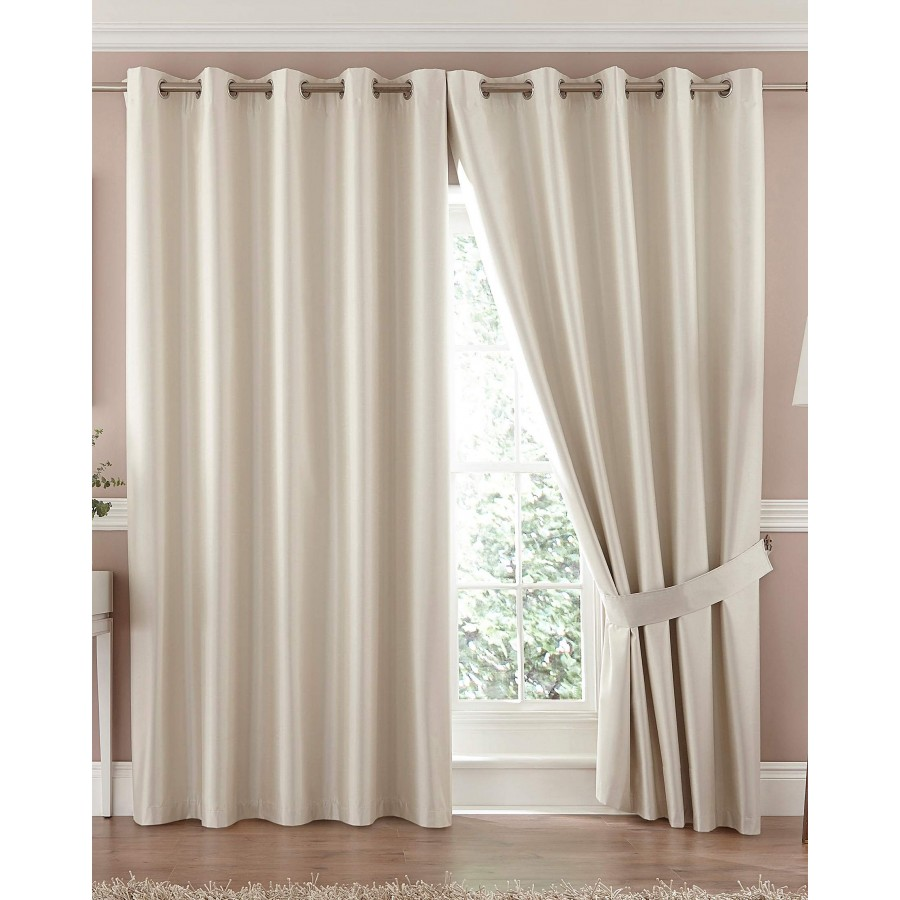 Home » Faux Silk Ring Top Blackout Curtain - Available in Cream