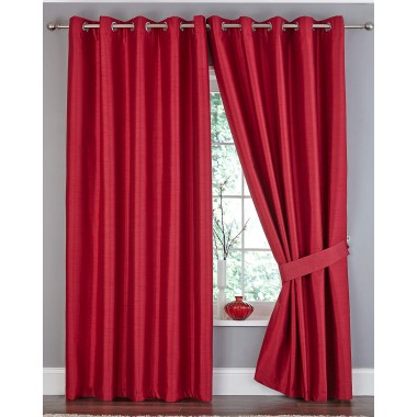 Faux Silk Ring Top Blackout Curtain - Available in Red
