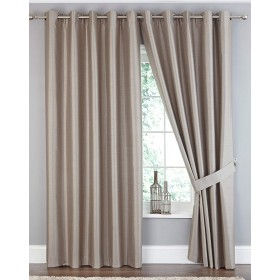 Faux Silk Ring Top Blackout Curtain - Available in Taupe