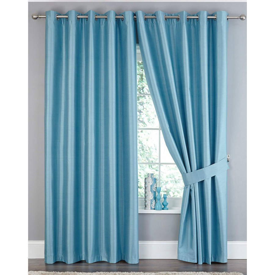 Faux silk ring top blackout curtain available in teal