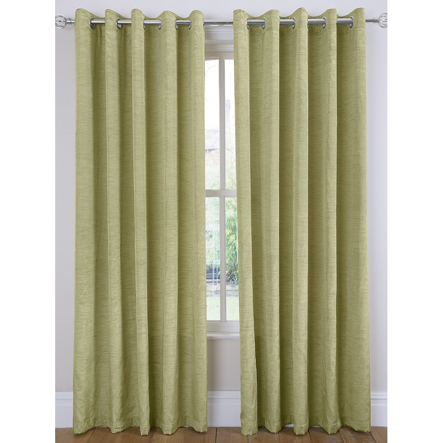 Luxury Faux Silk Ring Top Curtains Pair Finished In Green