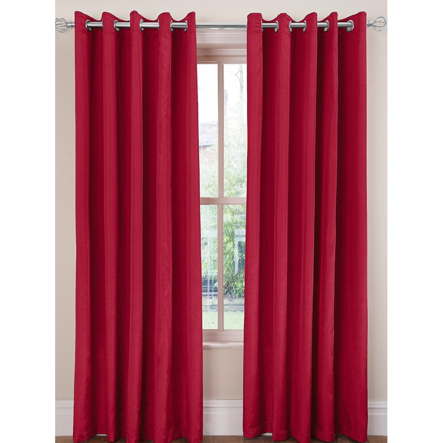Luxury Faux Silk Ring Top Curtains Pair Finished In Red