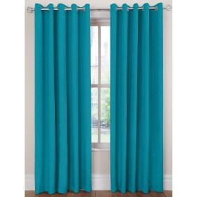 Luxury Faux Silk Ring Top Curtains (Pair) - Finished In Teal