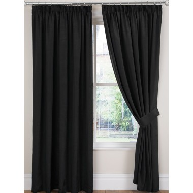 Luxury Faux Silk Tape Top Curtains (Pair) - Finished In Black