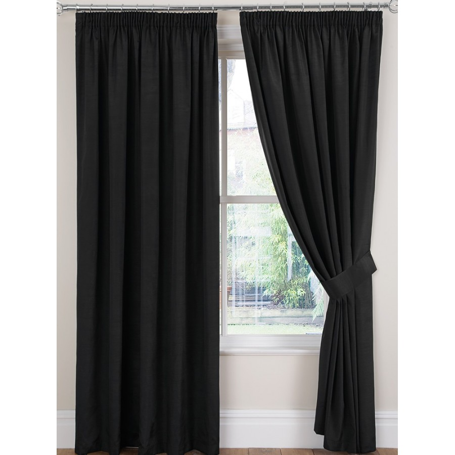 luxury faux silk tape top curtains pair finished in black