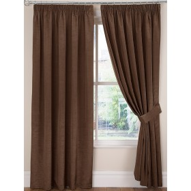 Luxury Faux Silk Tape Top Curtains (Pair) - Finished In Chocolate