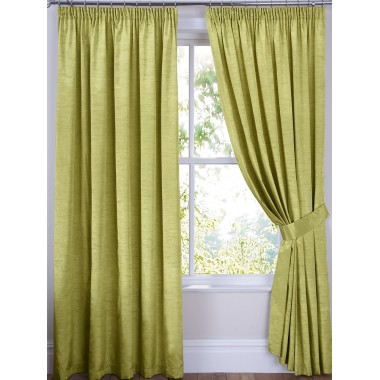 Luxury Faux Silk Tape Top Curtains (Pair) - Finished In Green