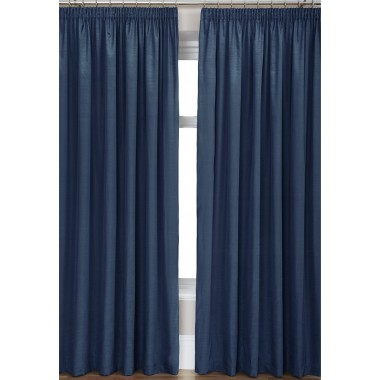 Luxury Faux Silk Tape Top Curtains (Pair) - Finished In Midnight Blue