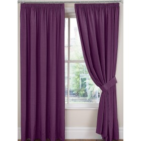 Luxury Faux Silk Tape Top Curtains (Pair) - Finished In Mulberry