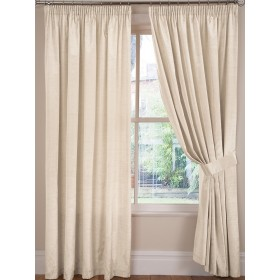 Luxury Faux Silk Tape Top Curtains (Pair) - Finished In Natural