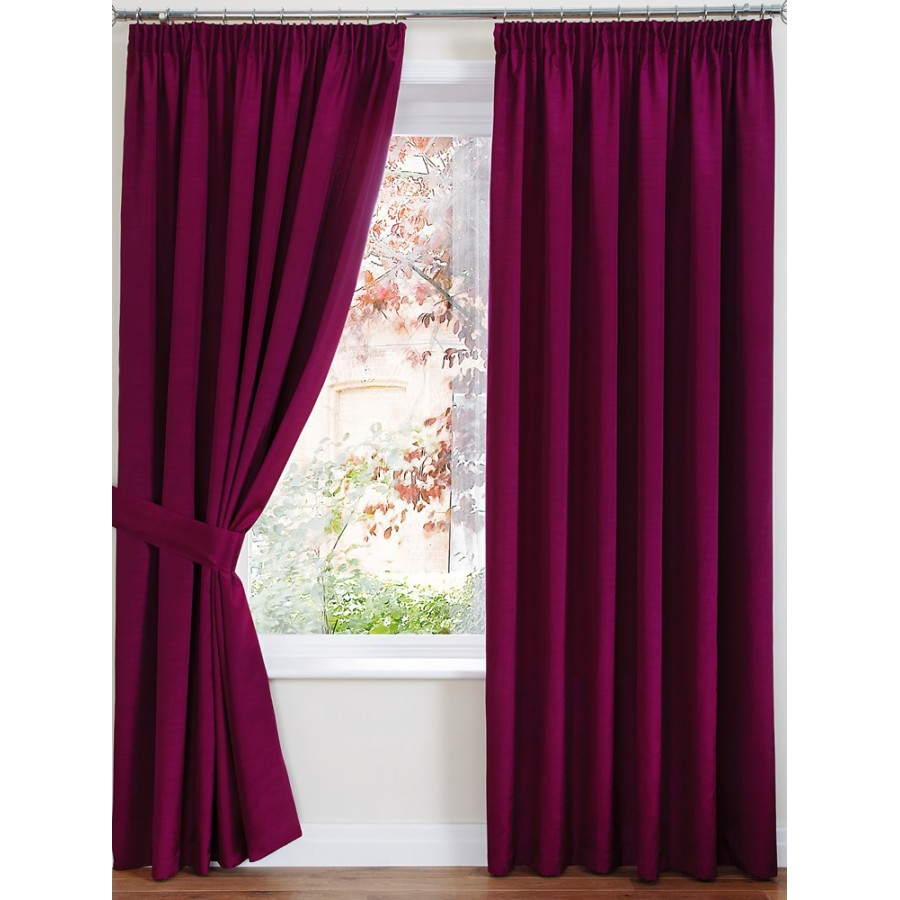 luxury faux silk tape top curtains pair finished in pink