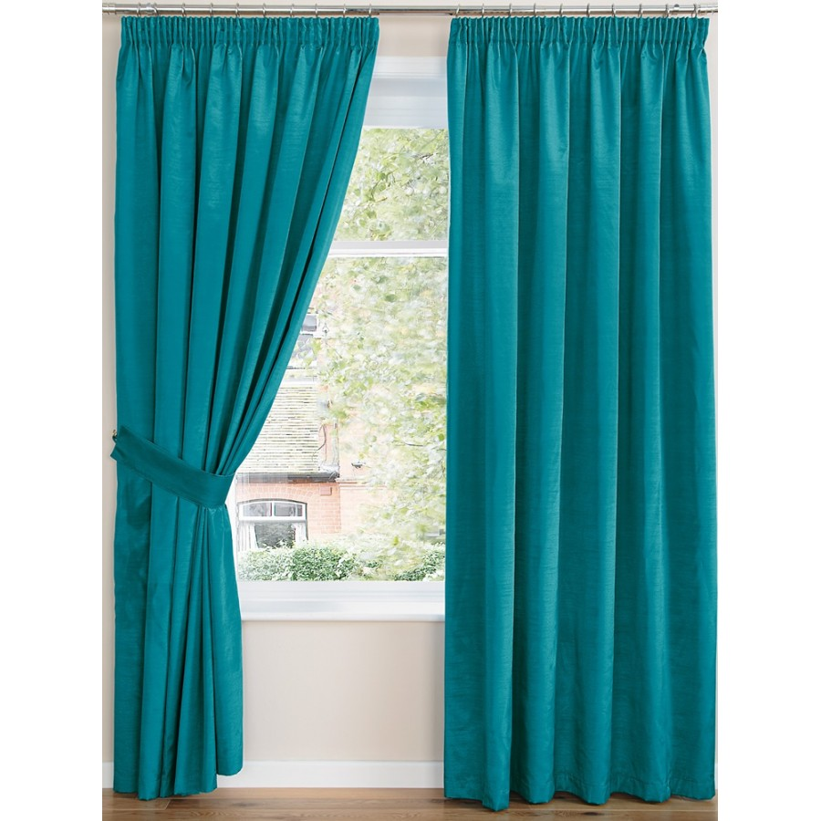 curtains pair finished in teal description luxury faux silk curtains ...