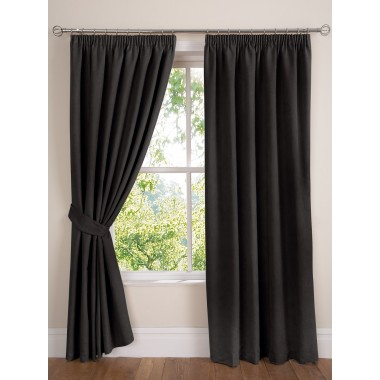 Faux Suede Lined Tape Top Curtains (Pair) Finished in Black