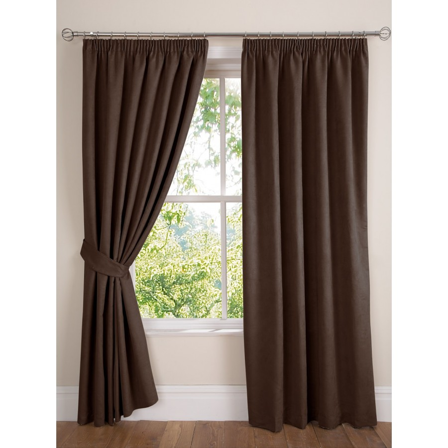 Faux suede lined tape top curtains pair finished in chocolate brown