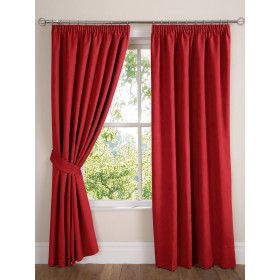 Faux Suede Lined Tape Top Curtains (Pair) Finished in Red