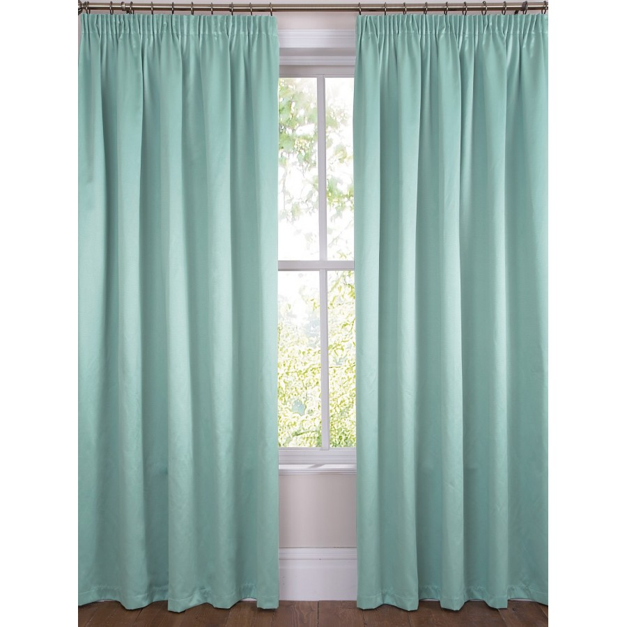 Grace Satin Plain Dye Lined Tape Top Curtains Pair Available In Duck Egg