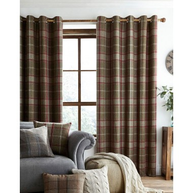 Highland Faux Wool Effect Lined Ring Top Curtains (Pair) - Finished in Green/Red
