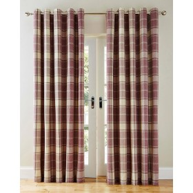 Highland Faux Wool Effect Lined Ring Top Curtains (Pair) - Finished in Mauve