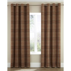 Highland Faux Wool Effect Lined Ring Top Curtains (Pair) - Finished in Natural/Caramel