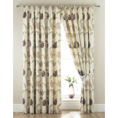 Kinsale Lined Tape Top Curtains (Pair) Available in Heather