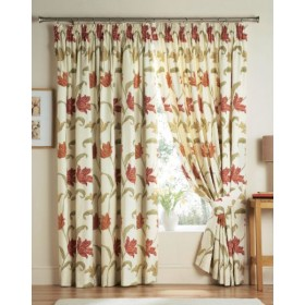 Kinsale Lined Tape Top Curtains (Pair) Available in Terracotta