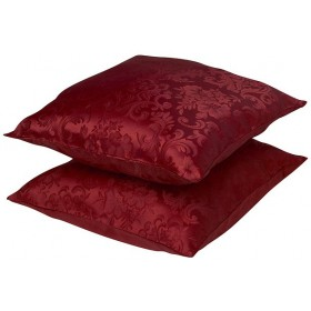 "Lana Cushion Cases (Pair - 18"" x 18"") Finished in Wine Red"