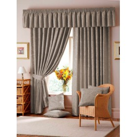 Lana Damask Lined Tape Top Curtains (Pair) - Mocha